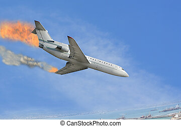 burned airplane - The image of burned airplane falling to...