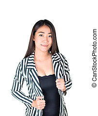 The image of business woman in thailand, Asia isolated on white background with clipping path.