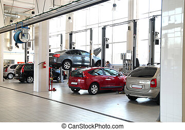 The image of car-care workshop and cars near the lifts
