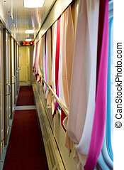 The image of corridor in compartment car