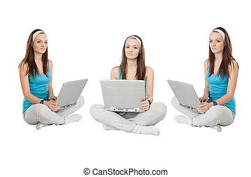 cross-legged girl - The image of cross-legged girl with...