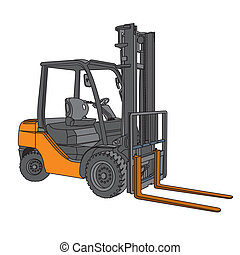 Forklift vector - the image of Forklift vector - perspective...