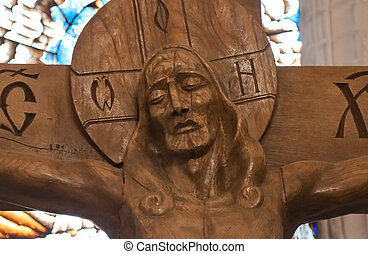 The image of Jesus Christ on the cross in the temple.