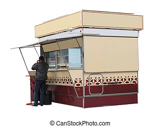 kiosk - The image of kiosk amd man stands near it