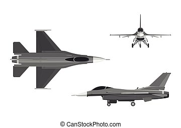 The image of military aircraft. Three views of airplane: top...