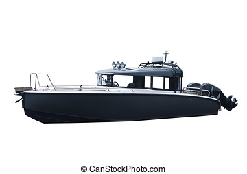The image of motor boats isolated on a white background.