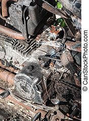 The image of old engine motorcycle for repair. - The image...