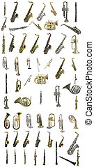 wind instruments - The image of wind instruments isolated...