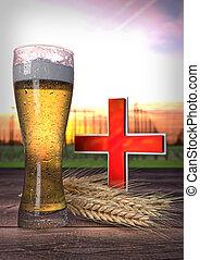 the impact of beer on health - 3D render