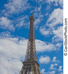 The imposing Eiffel Tower in Paris, France.