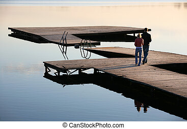The in love pair on the bridge
