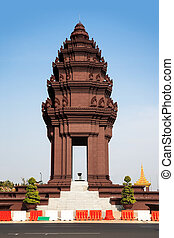 The Independence Monument was built in 1958 for Cambodia's independence from France in 1953. It stands in the centre of the Phnom Penh city.