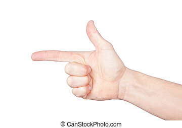 The index finger on a white background.