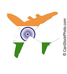 The India flag painted on the silhouette of a aircraft. glossy illustration