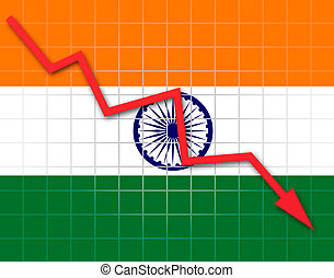 The Indian flag and arrow graph going down