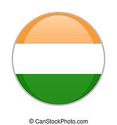 The Indian national flag round glossy icon. India badge Isolated on white background.