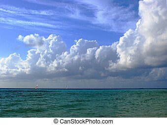 The Indian Ocean, blue sky and the staggering clouds