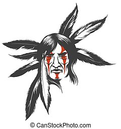 The Indian Warrior in Feather Hair Dress - Hand drawn...