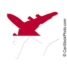The Indonesia flag painted on the silhouette of a aircraft. glossy illustration