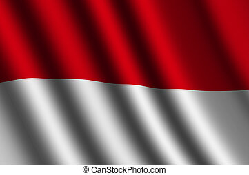 The Indonesian flag  flying in the wind.