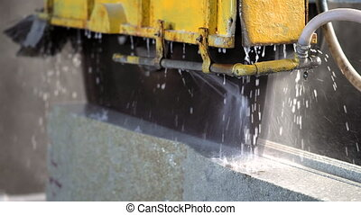 The industrial cutting factory marble cooled with water...