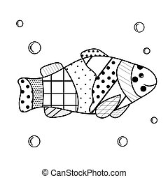 The inhabitants of the sea. Coloring book for children and adults with zenart elements. Cartoon fish with water bubbles. Uncomplicated training card about underwater dweller.