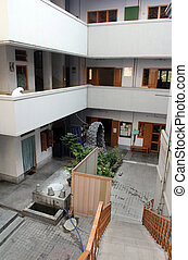 The inner courtyard at Mother House, where Mother Teresa used to live in Kolkata, West Bengal, India.
