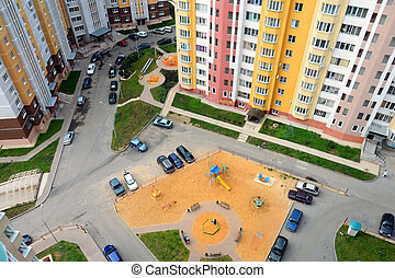 courtyard of an apartment building in the city, the view from above