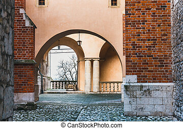The inner courtyard of Wawel Castle in Cracow, Poland