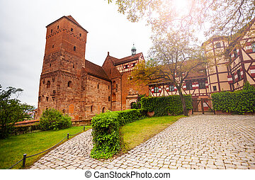 The inner yard of beautiful Kaiserburg, Nuremberg