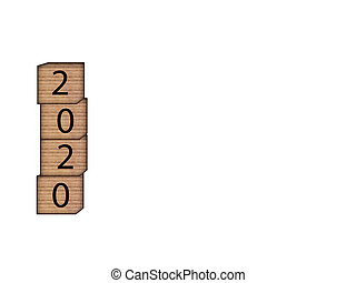 The inscription 2020 on wooden blocks on white background. Letter text on wooden cube.