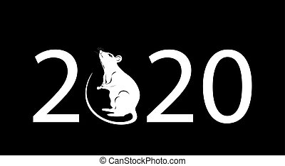The inscription 2020. The white metal rat is a symbol of the Chinese New Year. illustration