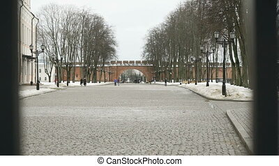 The inscription 859 the year of Foundation of Velikiy Novgorod, Russia