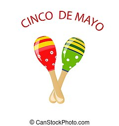 The inscription Cinco de Mayo. Fun party. Dancing under the maracas. illustration