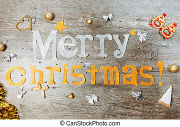 The inscription Congratulation on Merry Christmas and Happy New Year, Christmas toys, top view,