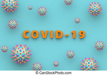 The inscription Covid - 19 on a blue background. Medical concept of coronavirus. 3D illustration.