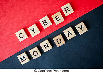 The inscription cyber monday from wooden blocks