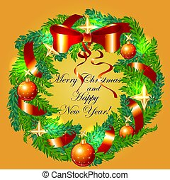 The inscription Happy Christmas and Happy New Year in a wreath of fir branches decorated with bows, balls, star...