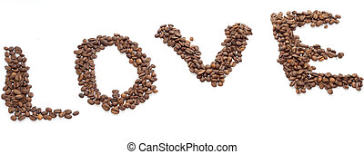 """The inscription """"Love"""" with coffee beans"""
