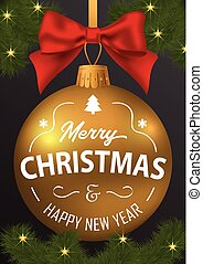 The inscription of merry Christmas and a happy new year on the b