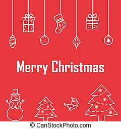 The inscription of merry Christmas on a red background with deco