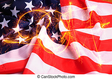 The inscription of sparks 2017 American flag background,