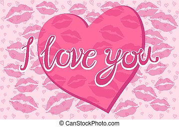 """The inscription """"I love you"""" in the shape of a heart, drawn by hand. Lettering. Vector."""