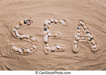 The inscription SEA is made by shells on the sand. Summer, vacation concept.
