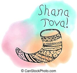 The inscription Shana Tova Hebrew. Rosh a Shana. Shofar in the style of doodle. On the watercolor stain. Hand drawing. Lettering. Vector illustration on isolated background.