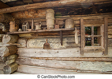 The inside of wooden house