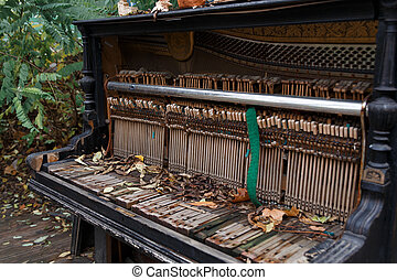 The insides of an old ruined piano