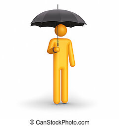 The insurance agent. Stick figure holding umbrella. Clipping...