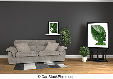 The interior has a sofa and plants on empty white wall background,3D rendering