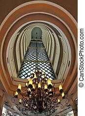 The interior in multi-storey  hotel